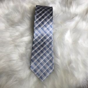 Perry Ellis Portfolio silver & blue 100% silk tie